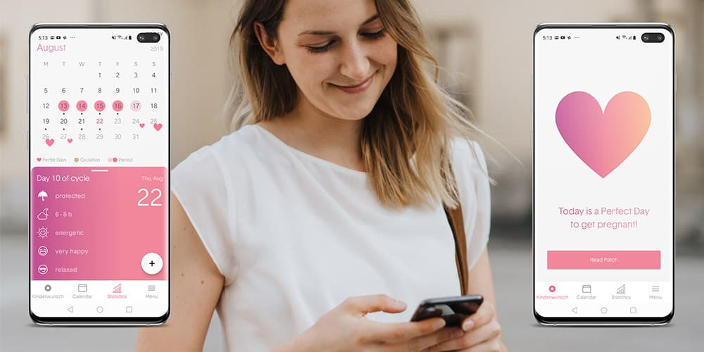 Young woman and smartphone – there are two screens which show the femSense Cycle Tracker and one Kinderwunsch-Screen saying Today is a perfect day to get pregnant