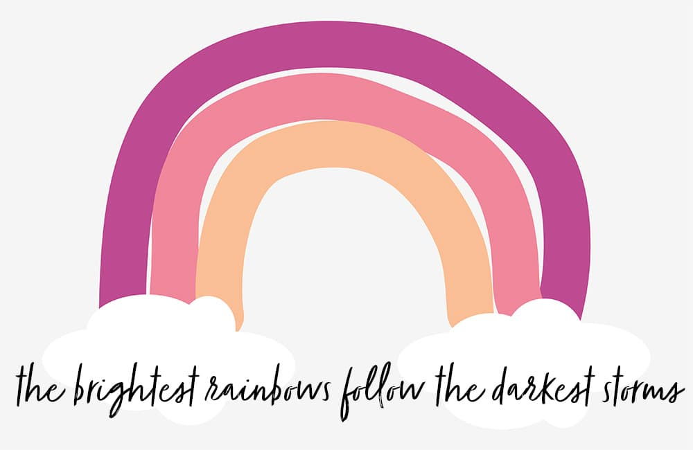 rainbow with written words: the brightest rainbows follow the darkest storms